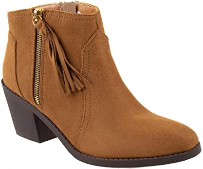 Shoes Women's Rowley-S Western Cowboy Ankle Bootie with Tassel and Zipper Closure