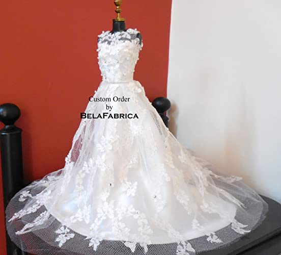 Amazon.com: Custom Barbie Wedding Dress Miniature Replica Dollhouse ...