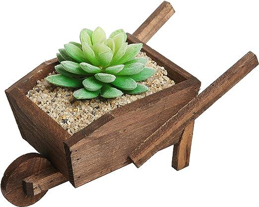 Pequeño país rústico carretilla marrón madera planta plantador de la flor olla Rack/ventana decorativa: Amazon.es: Jardín