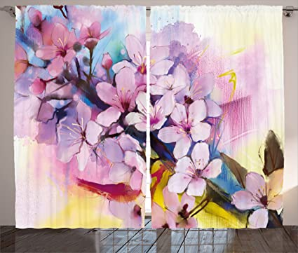 Amazon.com: Ambesonne Watercolor Flower Home Decor Curtains, Eastern ...