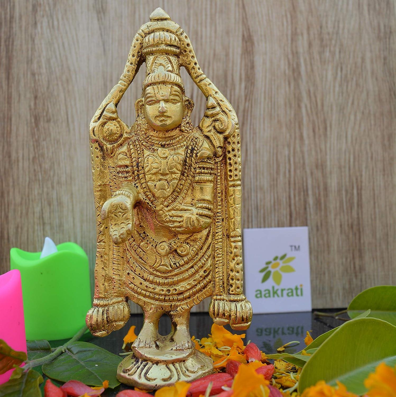 "5"" Brass Balaji Venkatesh Tirupati Statue Murti Idol | Pooja Idols | Tirupathi Balaji | Home Decor | Brass Statue"