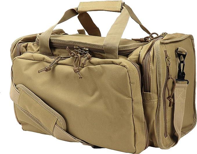 Image of the OSAGE RIVER Tactical Range Bag in brown color, one big front pocket, shoulder strap.