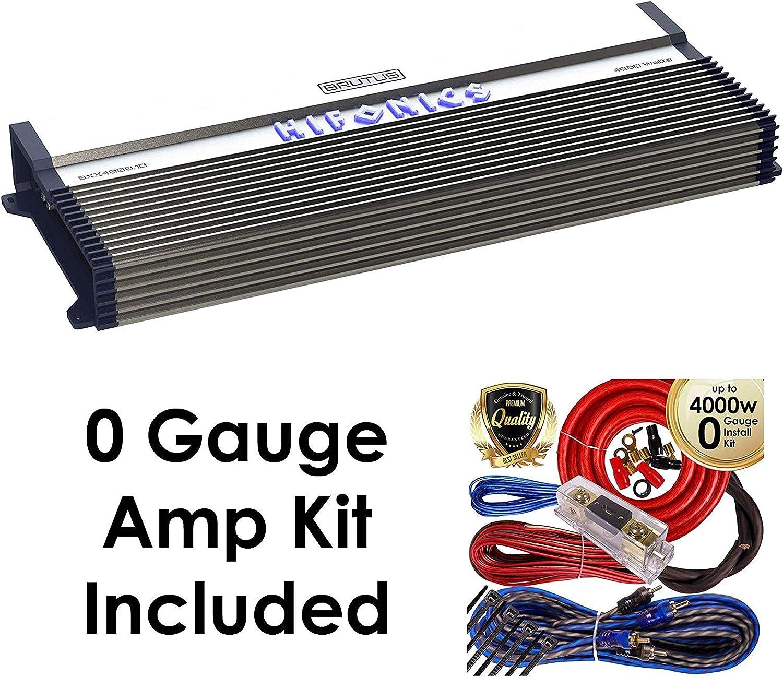 Hifonics BXX4000.1D Brutus Class D 4000W RMS Mono Car Subwoofer Amplifier w/Amp Kit