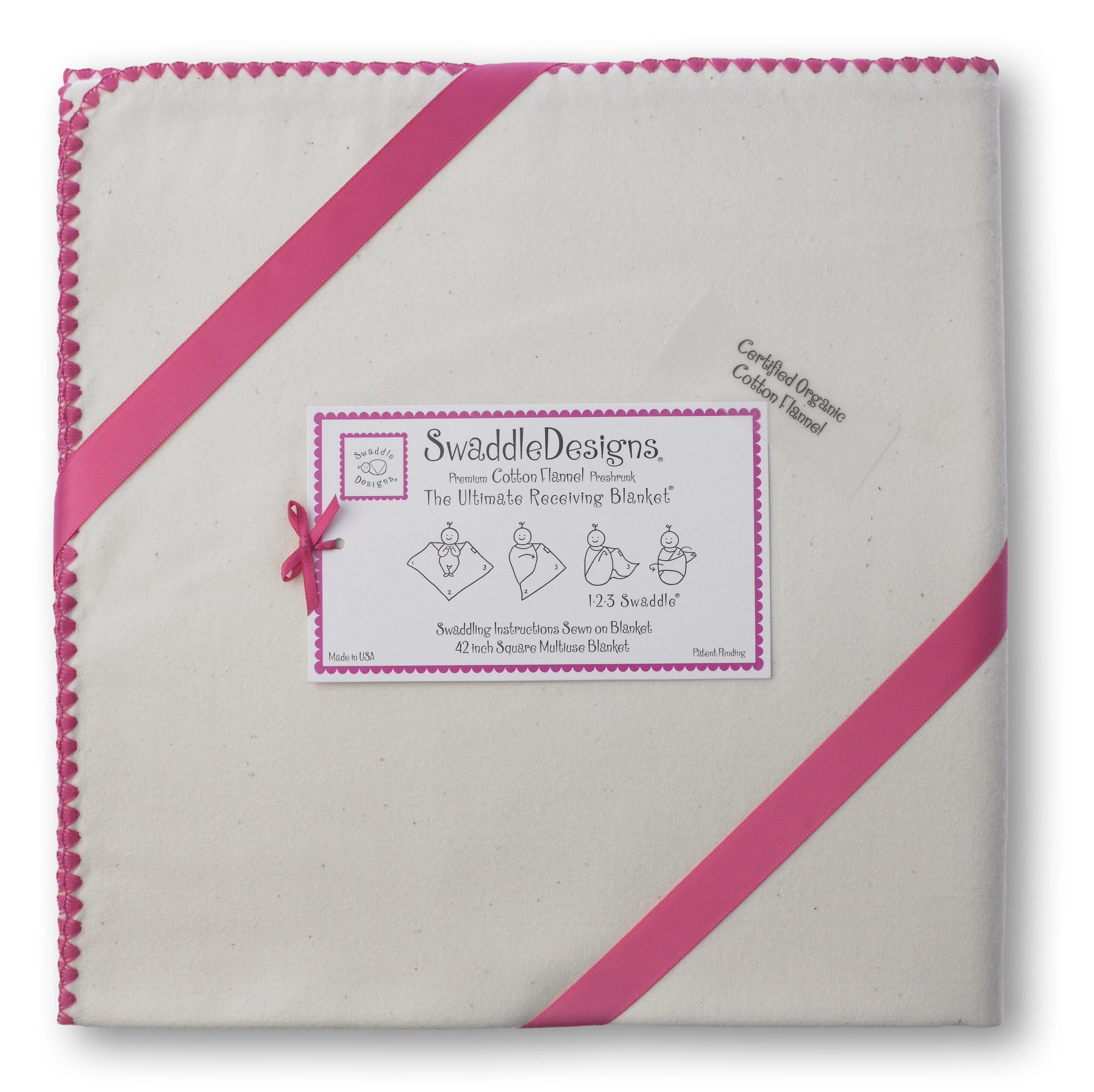 SwaddleDesigns Organic Ultimate Receiving Blanket, Natural with Color Trim, Fuchsia