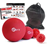 sFera Deep Tissue: Massage Ball Set of 4 for Trigger Point Therapy, Myofascial Release | Includes: Small and Large Firm Foam Roller Balls, 2 Spiky Balls, Mesh Bag, Manual