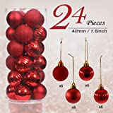 Valery Madelyn 24 Pieces 40mm Essential Red Shatterproof Christmas Tree Baubles Ball Ornaments Decorations for Holiday Wedding Party, String Pre-Tied, Themed with Tree Skirt(Not Included)