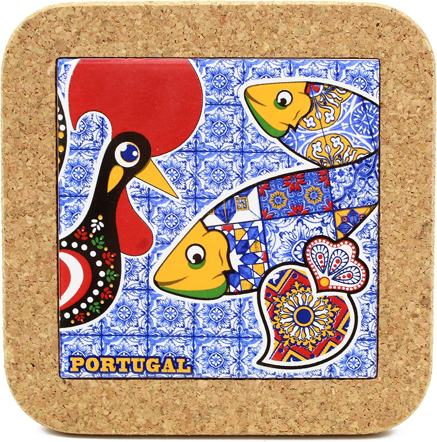 Traditional Portuguese Rooster Ceramic Tile Trivet With Cork #0251