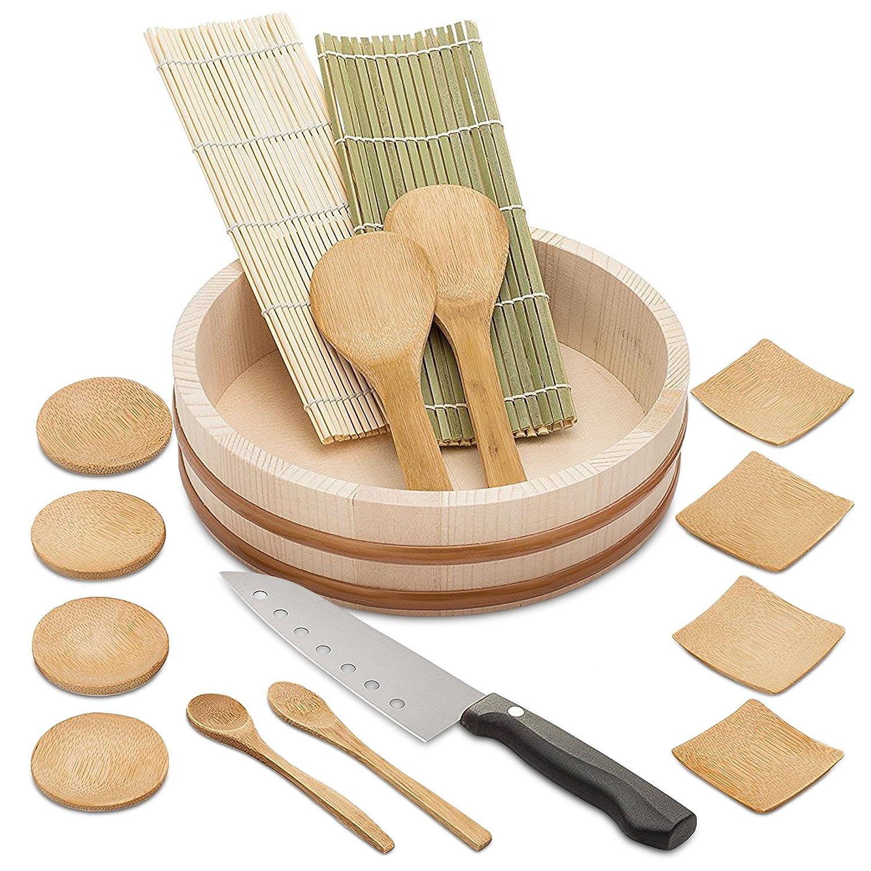 Elvoki Bamboo Sushi Making Kit - Have Fun + Save Money -Sushi Oke Tub - 15 Pieces Accessory Pack Plus Sushi Knife