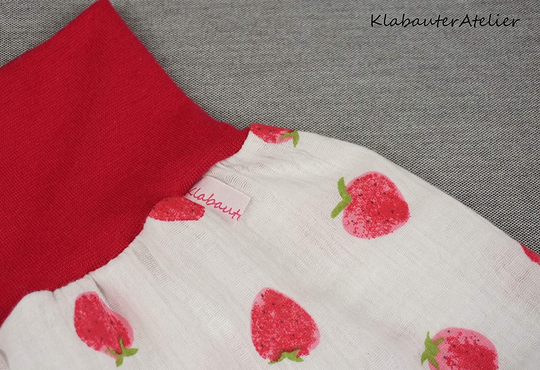 Pumphose Sommer Handmade Babyhose Musselin M/ädchen Erdbeer Creme Fuchsia 50//56,62//68,74//80,86//92,98//104,110//116//122