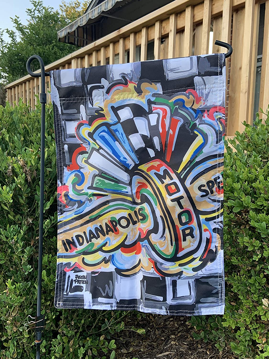 "Cherrytees Personalized Garden Flag-Indy 500 Garden Flag. (18""x12"") Artist Justin Patten Racing Indianapolis Shipping Friday Great Gift -Perfect"