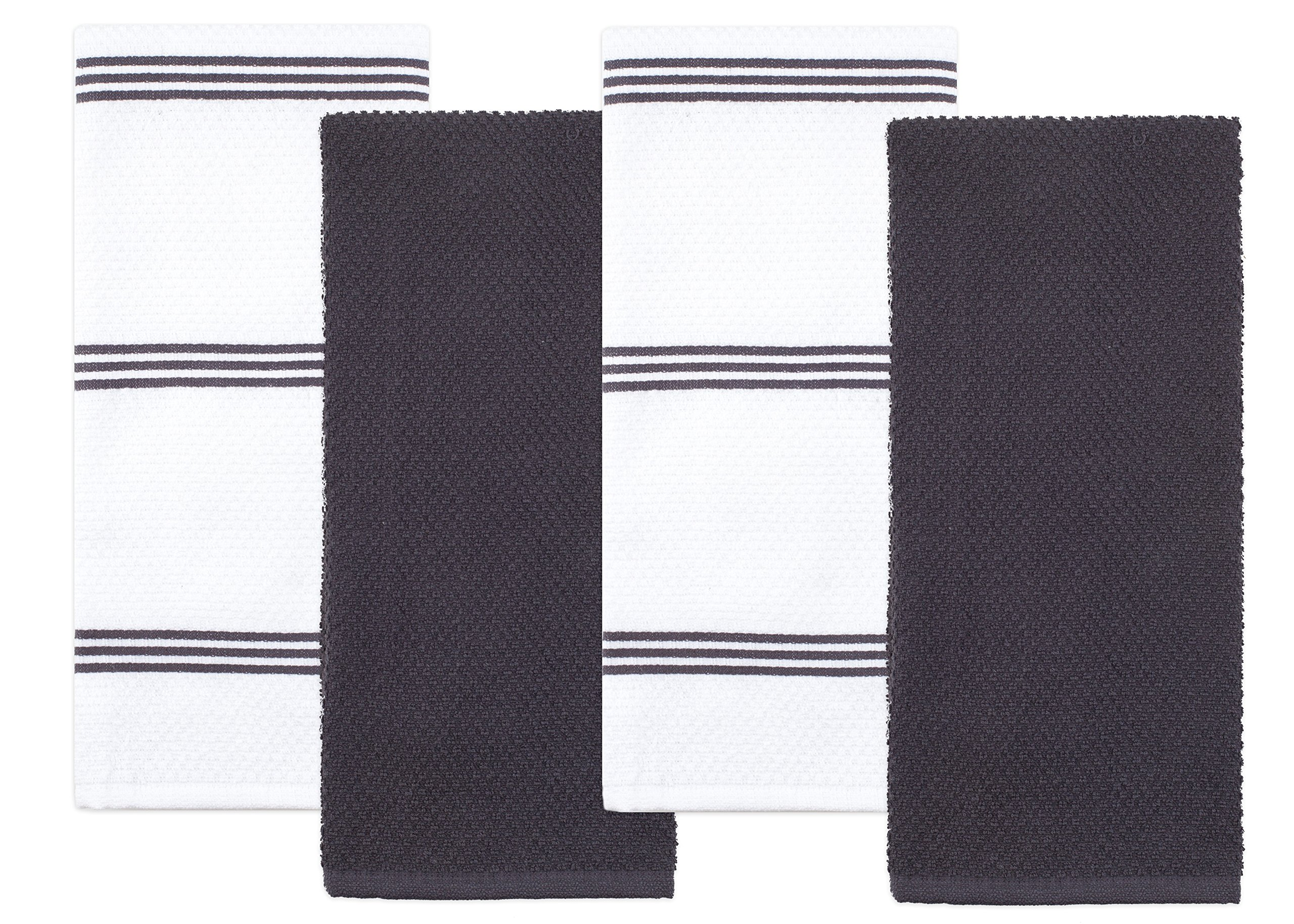 Sticky Toffee Cotton Terry Kitchen Dish Towel, Gray, 4 Pack, 28 in x 16 in by Sticky Toffee