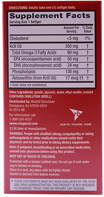 Amazon.com: MegaRed Omega 3 Krill Oil 350 mg, 100% Pure, High Absorption Krill Oil, 120 Softgels: Health & Personal Care