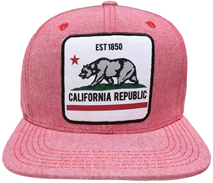 a918bcb73f3 Great Cities California Republic Embroidered Patch Snapback Ball Cap (Red).  Roll over image to zoom in. Top Level Leader Caps