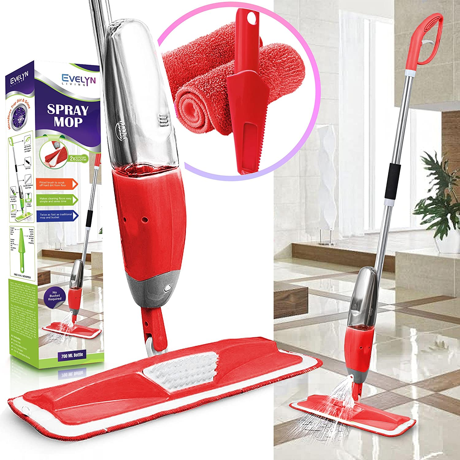 Evelyn Living Blue Spray Mop with Refillable 700 ml Capacity Bottle with Free 2 Replaceable Microfibre Pad & 3 in Scrapper Ideal for Hardwood, Laminate, Wood, Wet and Dry Vinyl & Tiles Floor Cleaning