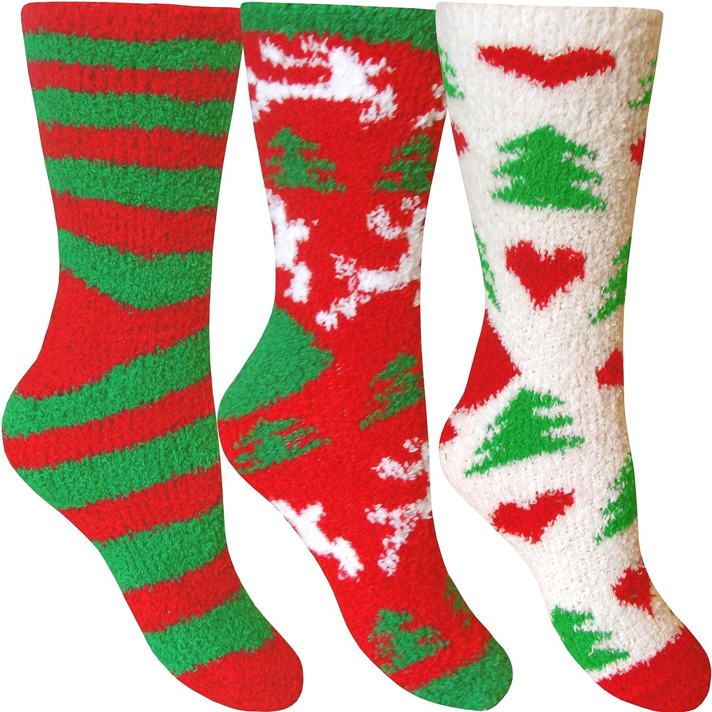Womens Fluffy Stripes /& Polka Dot Co-Zee Thermal Socks 3 Pair Pack