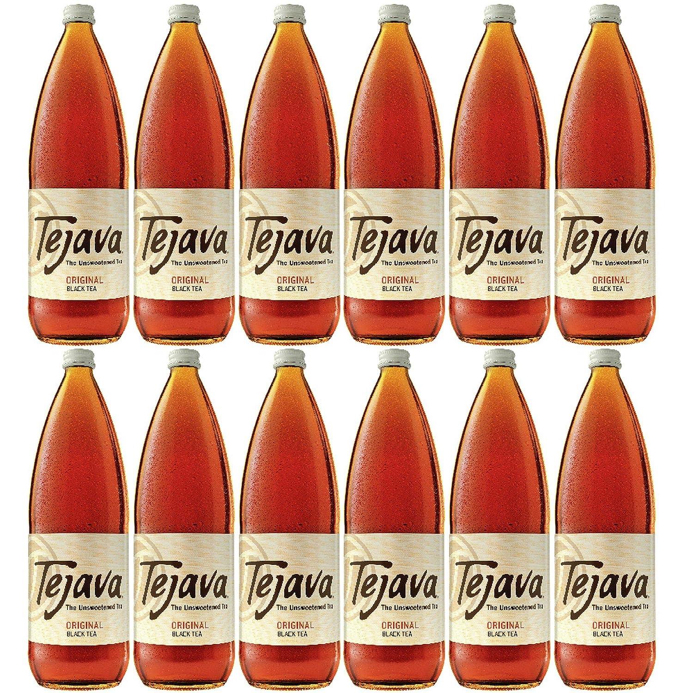 Tejava Original Black Tea, 12Count, 1 Liter Glass Bottles, Award-Winning Tea, Unsweetened, Non-Gmo-Verified, From Rainforest Alliance-Certified Farms