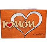 Handmade Real Wood I Love Mom Heart Greeting Card Best Happy Birthday Gift For Your