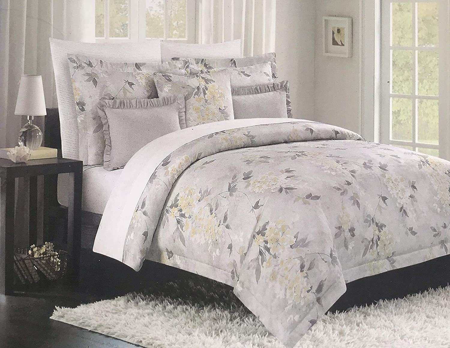 Tahari Luxurious Bedding King Duvet Cover Set Large Floral Vine Branches Garden Flowers Vintage Botanical (King, Yellow Grey)