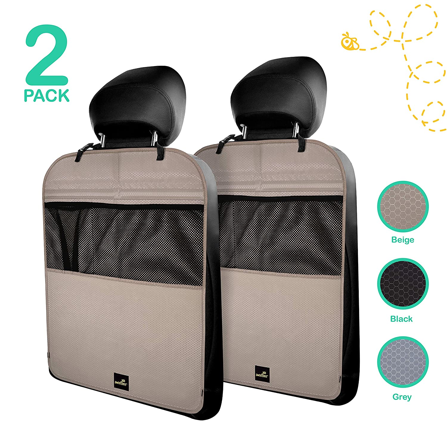 Premium & Stylish Car Seat Protector Kick Mats, 2 Pack, Easy Care, 3 Color Options sweetbee