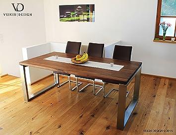 Esstisch Nussbaum Massiv U0026quot;Londonu0026quot; 220 X 100 Cm, Designer Tisch  Massivholz Mit