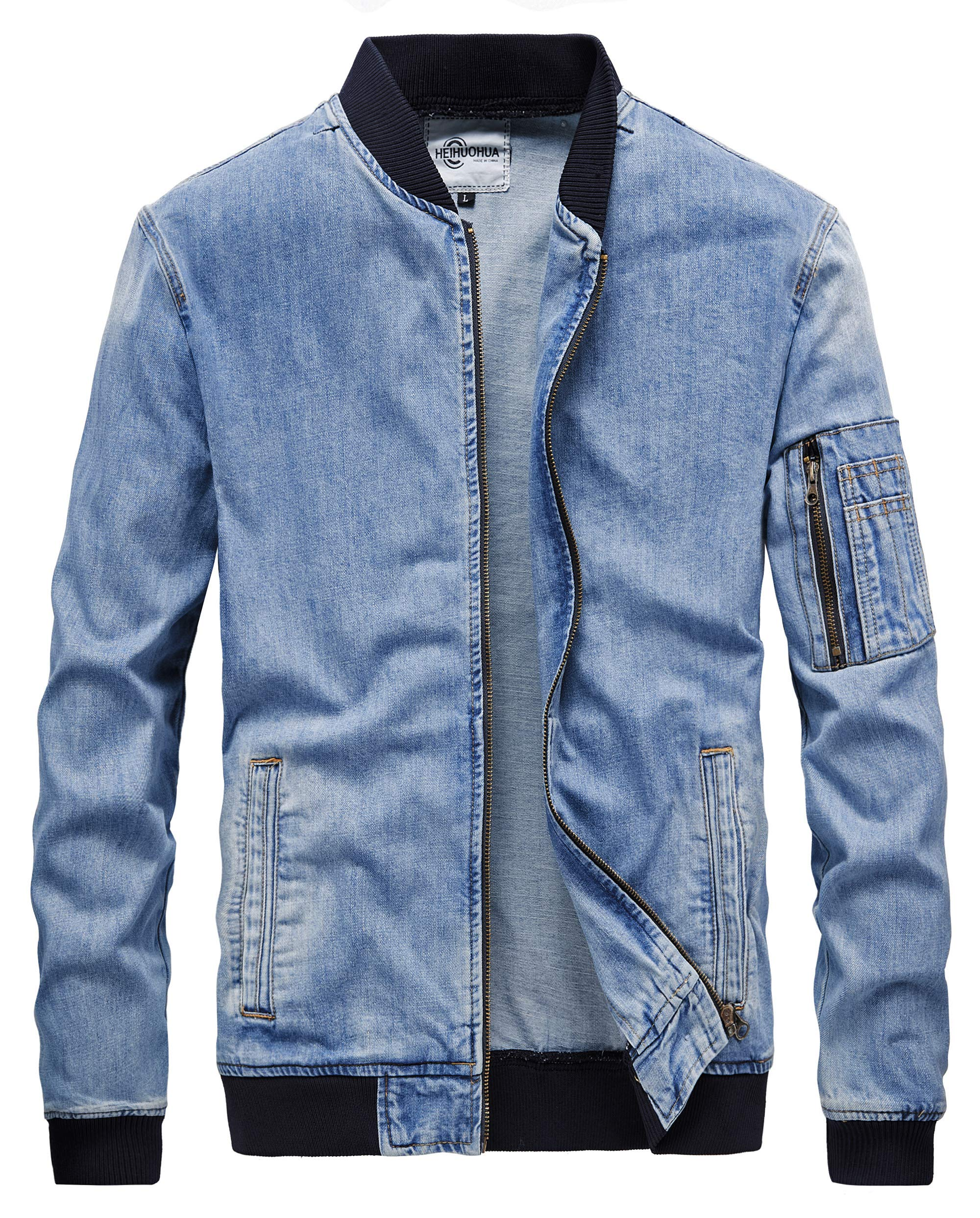 Heihuohua Men's Zip-Front Denim Bomber Jacket Classic Trucker Jean Jacket by Heihuohua