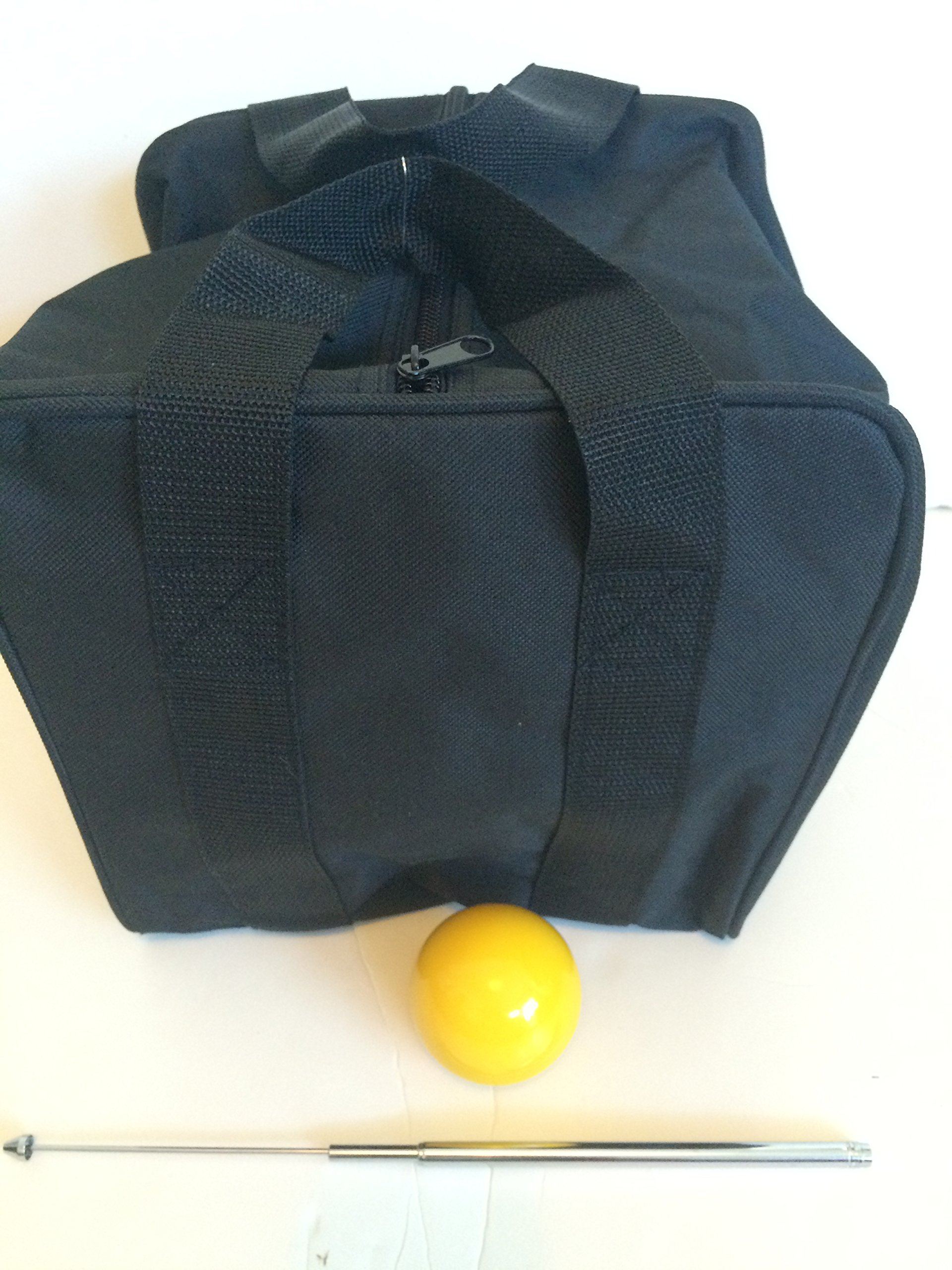 Unique Bocce Accessories Package - Extra Heavy Duty Nylon Bocce Bag (Black with Black Handles), Yellow pallina, Extendable Measuring Device