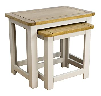 Wellington Painted Oak Nest Of Tables/Grey 2 Nesting Tables   With Solid Oak  Top