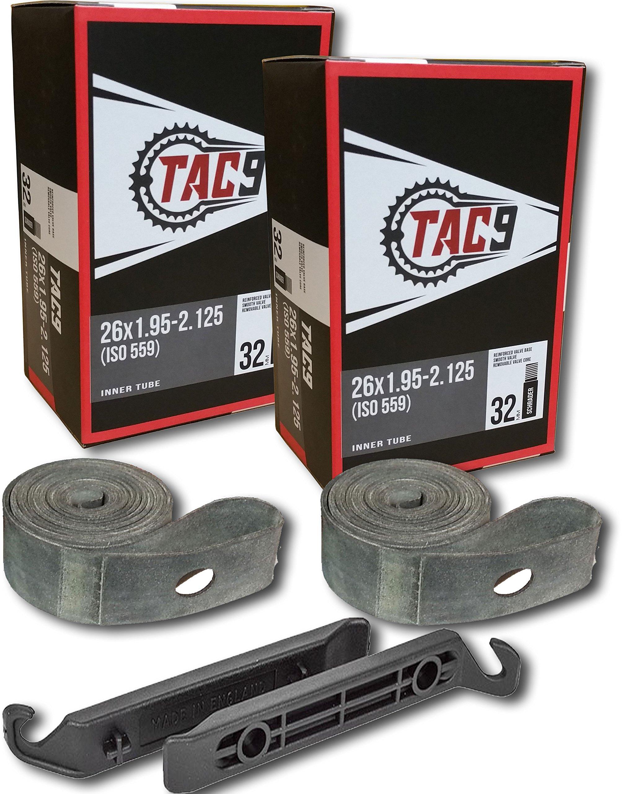 TAC 9 2 Pack Bike Tubes, 26 x 1.95-2.125'' Regular Valve 32mm - Tubes, Rim Strips and Tire Levers Bundle by TAC 9