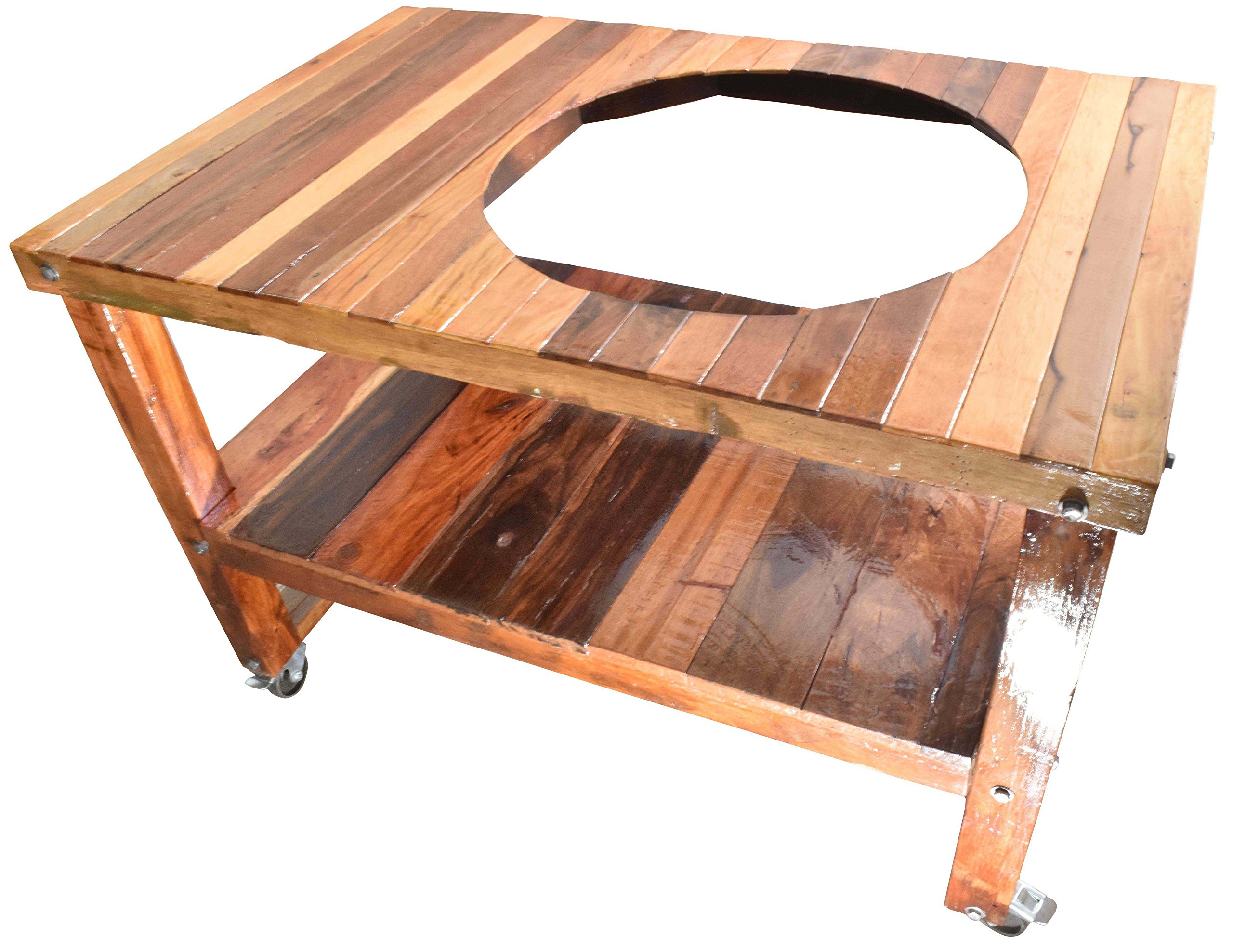 Barbecue Hardwood Tables ''Offset Hole'' (21 inch, Indoor, Outdoor, Big Green Egg, Fit for Kamado Joe, Party, BBQs and Everyday Use)