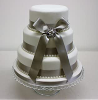Wedding Cake Bow Set Satin Baby Blue Ribbonsilver Diamante Trim