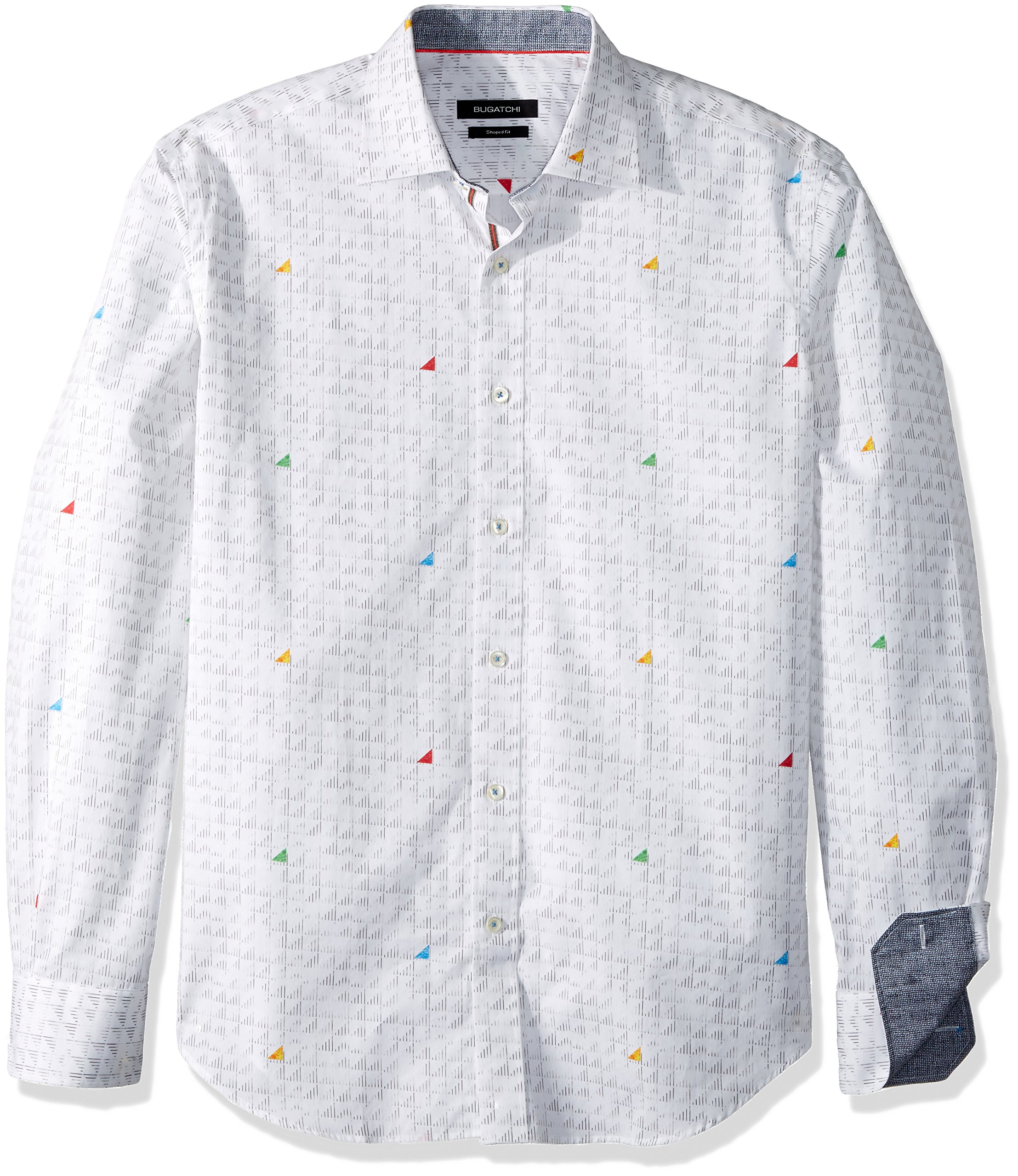 BUGATCHI Men's Cotton Tapered Fit Long Sleeve Shirt, White, L