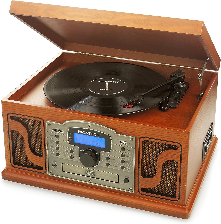 Ricatech RMC250 Deluxe 7 en 1 Music Center con, Compatibilidad Bluetooth, tocadisco a 3 velocidades y Altavoces estéreo Integrados, Reproductor de CD y de Cassette, Radio Am/FM y Line-In