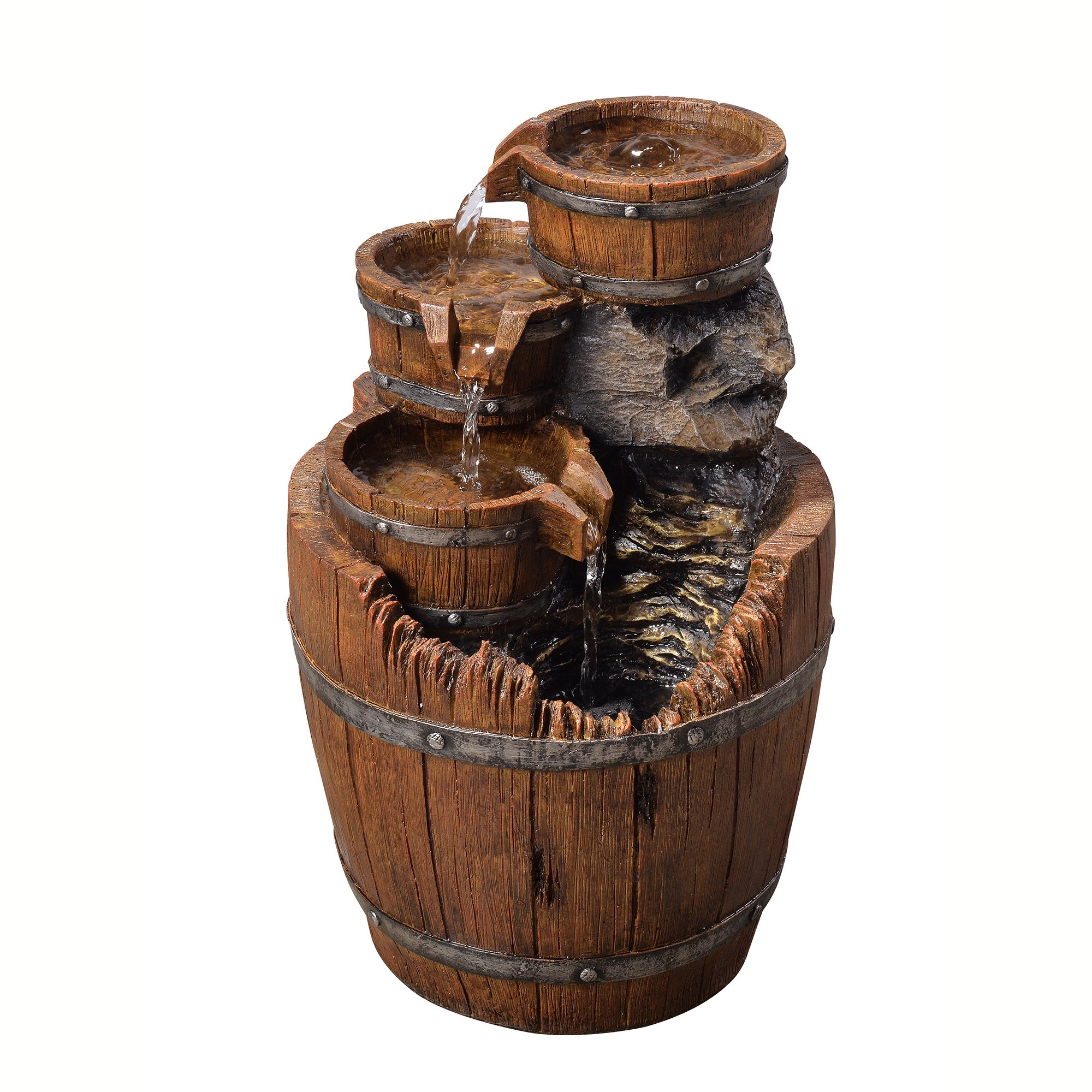 Peaktop VFD8305 Outdoor Wood Barrels Fountain, 17'', Brown
