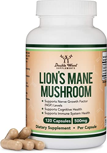 Lions Mane Mushroom Capsules Two Month Supply – 120 Count Organic and Vegan Supplement – Nootropic to Support Brain Health, Neuron Growth, and Immune System, Made in The USA by Double Wood