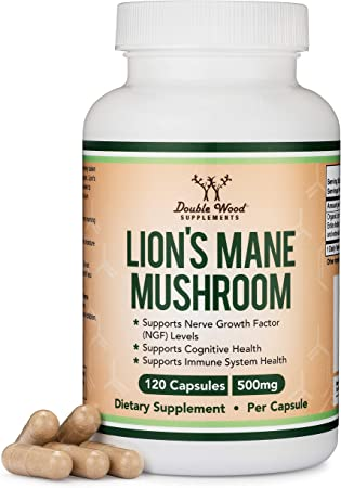 Lions Mane Mushroom Capsules (Two Month Supply - 120 Count) Vegan Supplement - Nootropic to Support Brain Health, Neuron Growth, and Immune System, Made in The USA by Double Wood