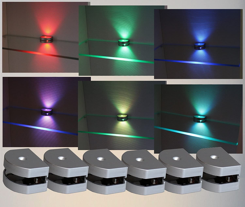 LED 3-Seiten RGB Glaskantenbeleuchtung   6-er Komplettset   2298-6   Glasbodenbeleuchtung   Clip   Lichtfarbe Rot Grün Blau   Vitrinenbeleuchtung   Glasplattenbeleuchtung
