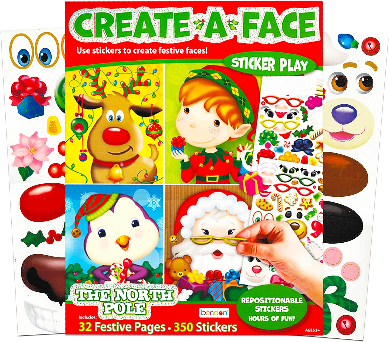 Reindeer Festive Faces and 350 Stickers Giant Christmas Sticker Book with 32 Santa Bendon Publishing Christmas Make a Face Sticker Book for Kids Toddlers Sticker Face Activity Set Elf