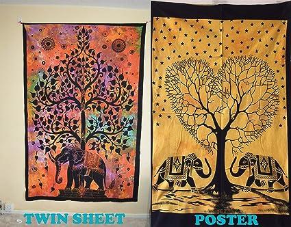 Ava Juego de 2 póster de Mandalas Indias Impreso a Mano + Doble Hoja para Colgar