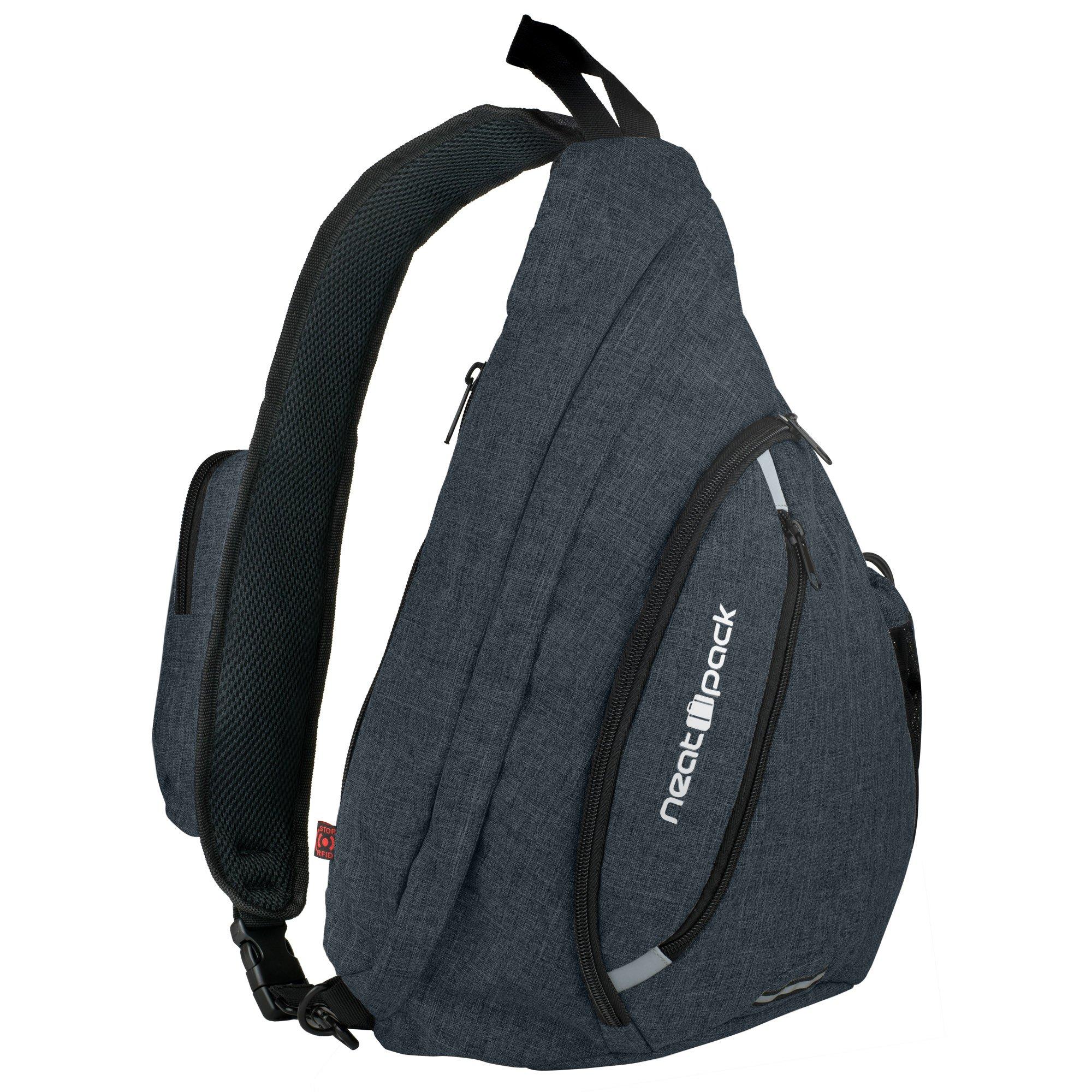 Versatile Canvas Sling Bag/Urban Travel Backpack, Black | Wear Over Shoulder or Crossbody for Men & Women, by NeatPack