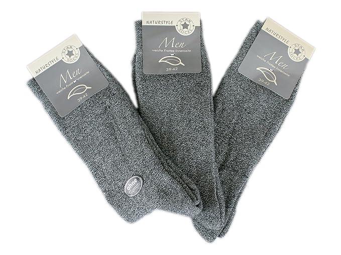 6 pares HOMBRE calcetines térmicos sin goma (7505) gris 39