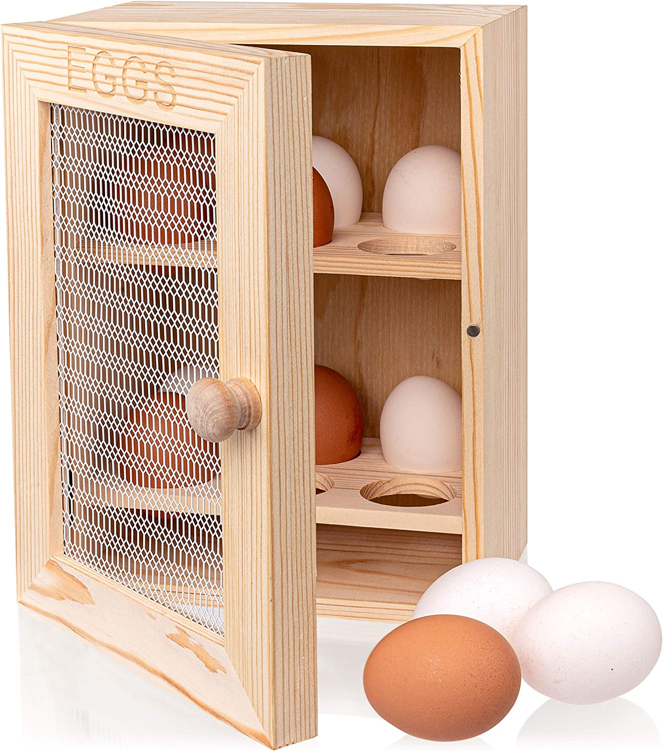 OkayJo Wooden Egg Holder 12 Eggs Countertop Cabinet – Charming Rustic Kitchen Egg Storage Tray for Display & Unfinished Vintage Decor, From Chicken Coop Egg Basket to Your Country Home Farmhouse Table