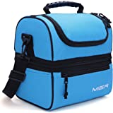 MIER Adult Lunch Box Blue Insulated Lunch Bag Large Cooler Tote Bag for Men Women Double Deck Cooler(Blue)