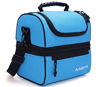 f26035654376 Blue   MIER Adult Lunch Box Blue Insulated Lunch Bag Large Cooler Tote Bag  for Men