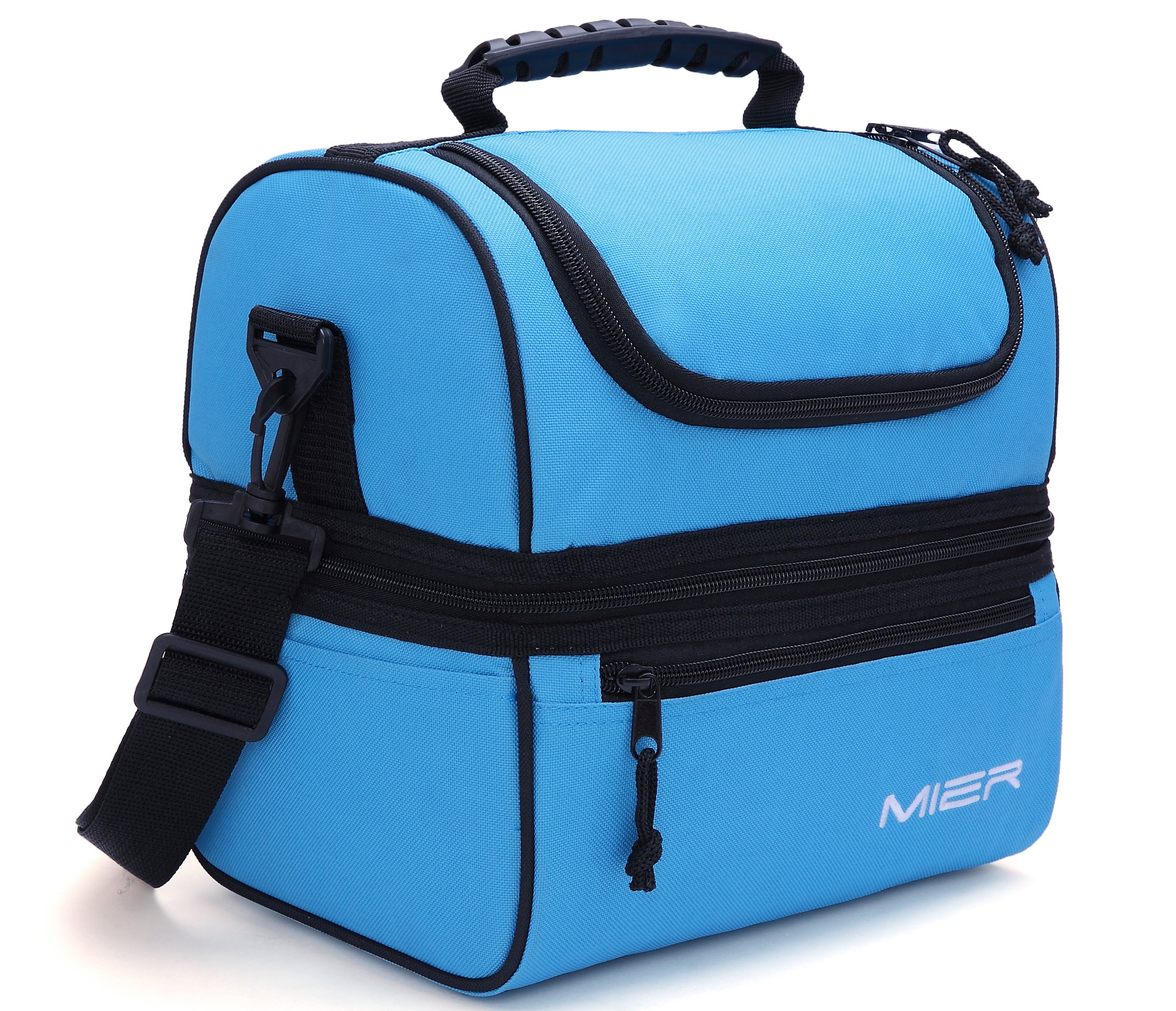 MIER Adult Lunch Box Blue Insulated Bag Large Cooler Tote For Men Women Double Deck CoolerBlue
