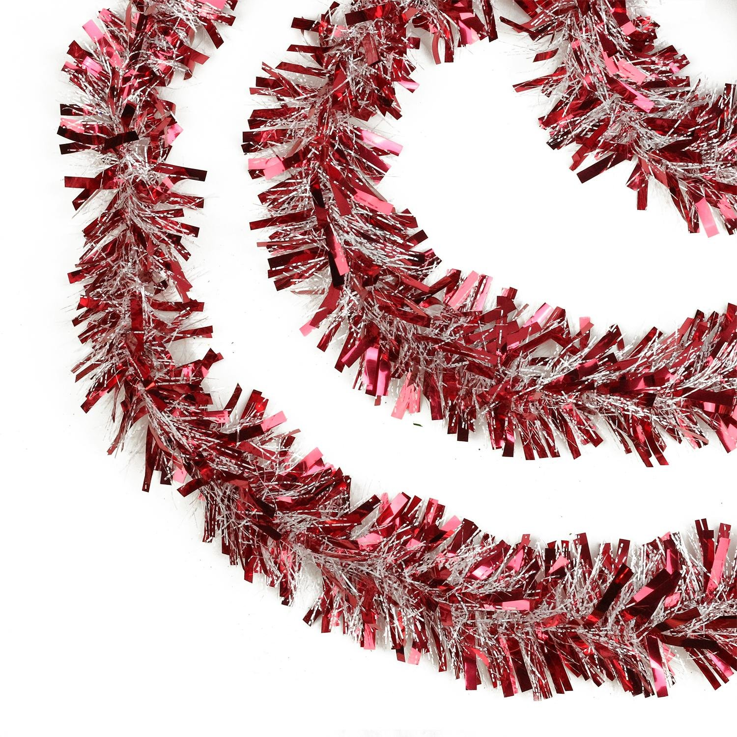 Northlight Festive Thick Cut Christmas Tinsel Garland Unlit-6 Ply, 50', Red/White 50' NORTHLIGHT K00370