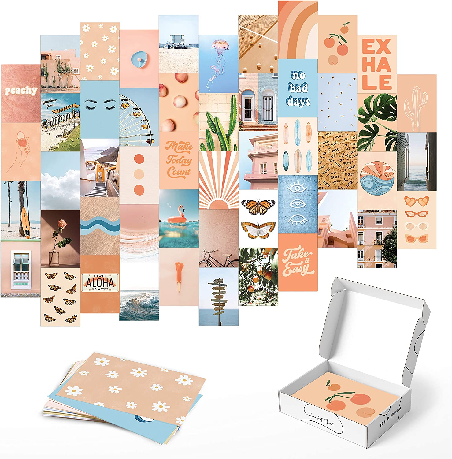 Haus and Hues Peach Photo Collage Kit for Wall Aesthetic - Set of 50 Collage Wall Kit Aesthetic Pictures for Wall Collage   Aesthetic Wall Collage Kit Aesthetic Room Decor for Teen Girl   4