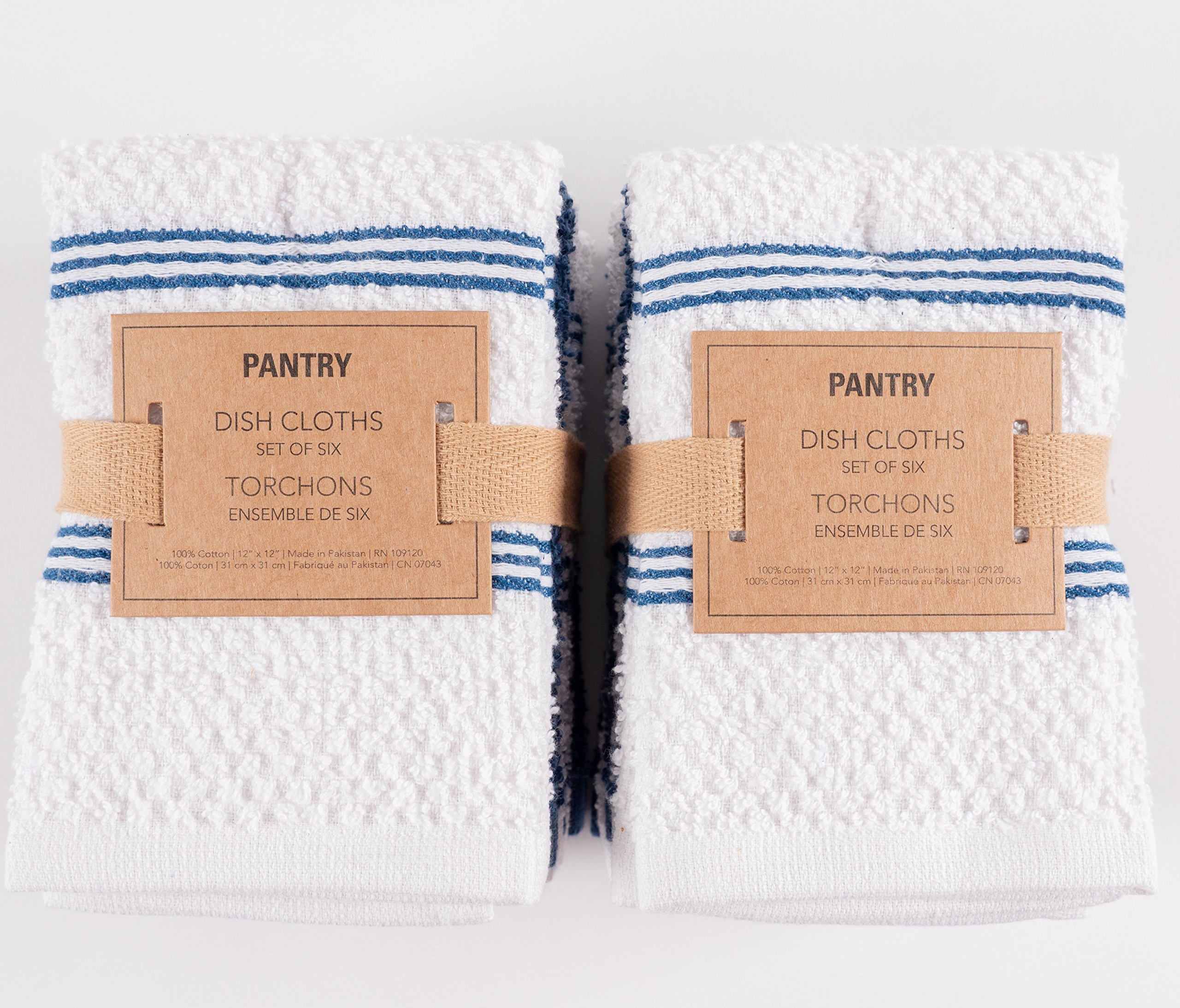 KAF Home Pantry Piedmont Dish Cloths (Set of 12, 12x12 inches), 100% Cotton, Ultra Absorbent Terry Towels - Paris Blue by KAF Home (Image #4)