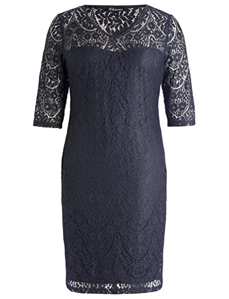 07d2f0c643 Chicwe Women s Plus Size Lined Floral Lace Dress - Knee Length Casual Party  Cocktail Dress 3X