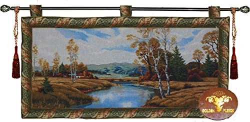 Winding Creek 48 Wx24 L Jacquard Woven Wall Hanging Tapestry Decor