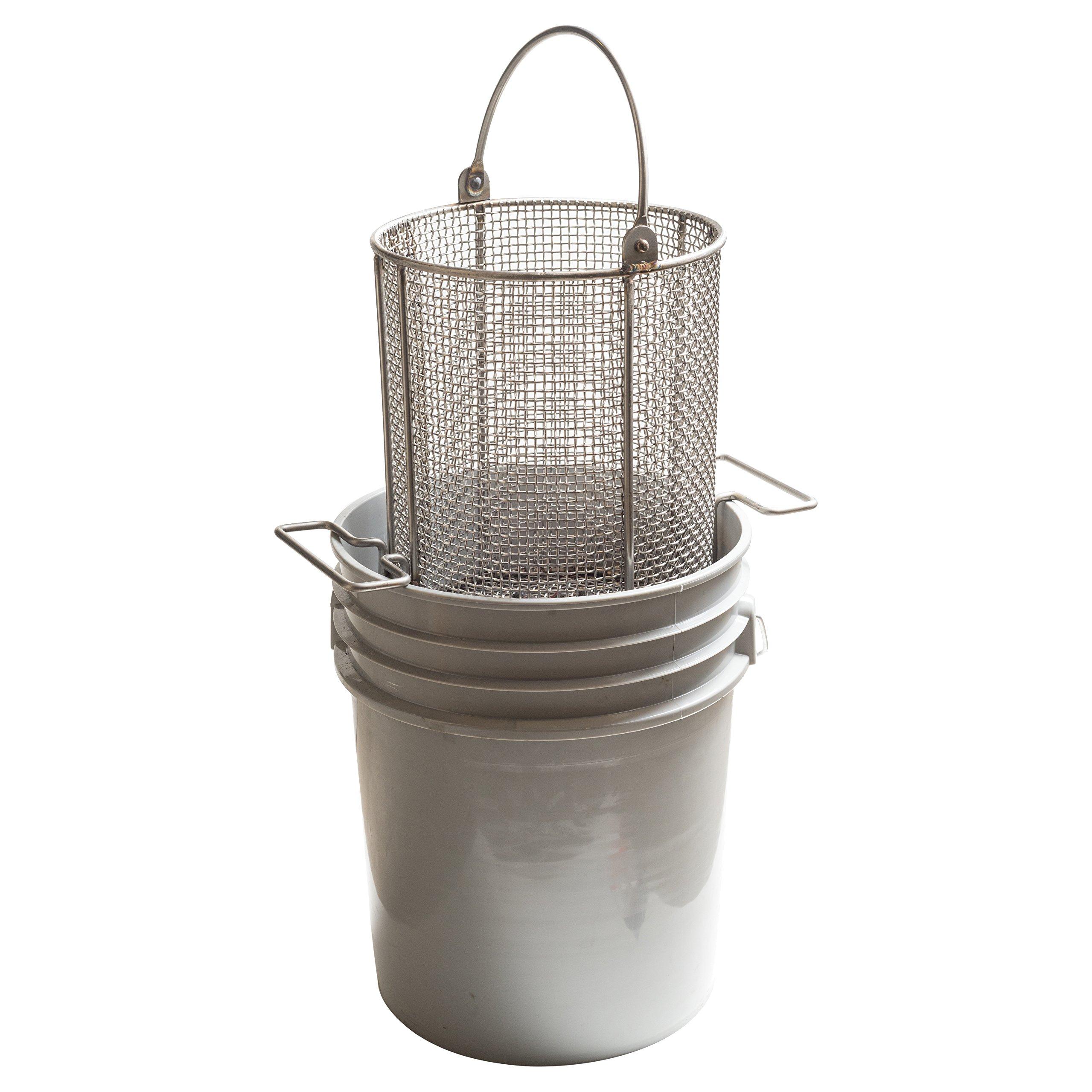 AnySizeBasket DND-095RND120-C04S 304SS Dip-and-Drain Mesh Basket, Swinging Loop Handle, Fits 5 gal Bucket (Bucket NOT Included), 9-1/2'' Diameter x 12'' H